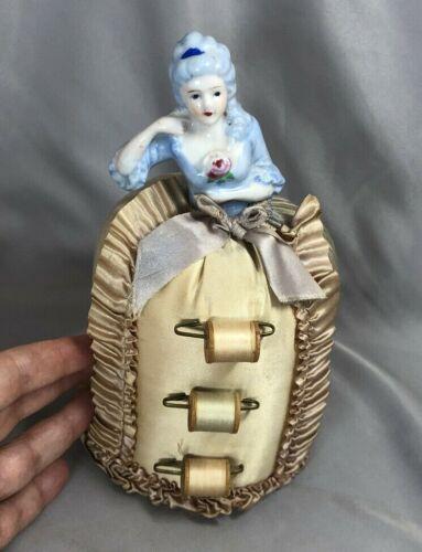 Vintage Porcelain Half Doll Lady PIN CUSHION w Thread SPOOL Holder SKIRT
