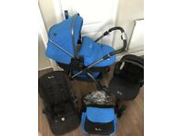 Silvercross wayfarer Pram, pushchair, Car Seat, Travel System 💙 blue with titanium coloured frame