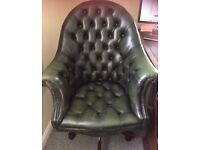 Green leather chesterfield directors office chair