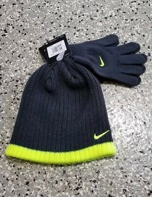 cb2a4eb9c1cbd New Nike Boys Youth Knit Beanie and Gloves Charcoal Gray Set Size  8 20