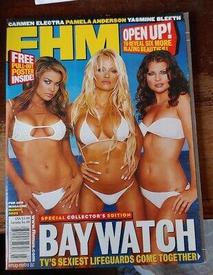 FHM MAGAZINE - PAMELA ANDERSON CARMEN ELECTRA - MARCH 2003 - BAYWATCH FREE SHIP