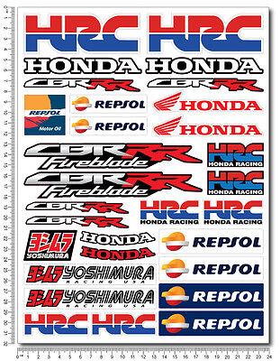 Honda CBR motorbike racing decal set 9.4x12.6 sheet 30 sticker 1000rr HRC Repsol