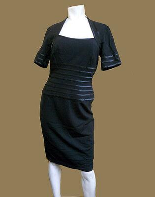 - NWT TADASHI SHOJI Square-Neck BLACK KNEE Length little black DRESS - 8 P PETITE