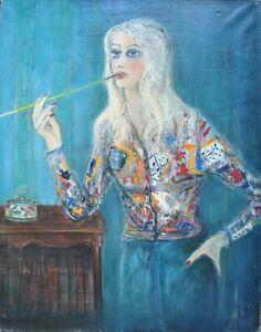Tableau Expressionnisme Portrait de Femme peinture signée C. Schneider 1917-1997 - France - Type: Huile Thme: Portrait, Autoportrait Période: XXme et contemporain Caractéristiques: Signé, Sur toile Genre: Expressionnisme - France