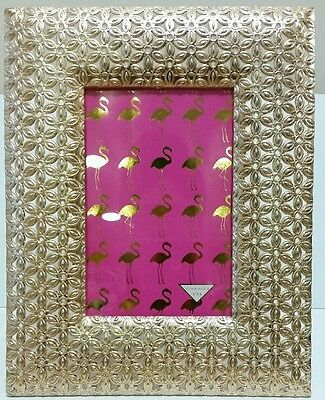 New Gold Flower Cut Out Lace Metal Picture Photo 4 x 6 Wedding Frame ()