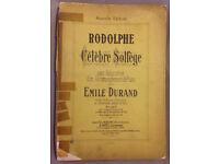 Piano sheet music. Rodolphe – Celebre Solfege, Emile Durand. Published 1902