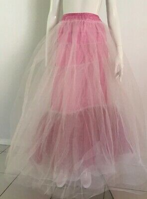 80s Dresses | Casual to Party Dresses Vintage 1980's Electric White And Pink Tulle Layered Petticoat $26.21 AT vintagedancer.com