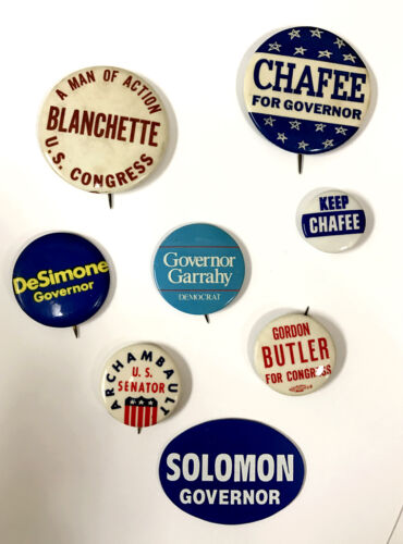 Rhode Island Governor and US Congress Political 8 Pin Lot From the 60