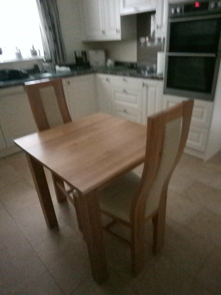 Strange Oak Table 30 Inch X 30 Inch And 2 Oak And Cream Leather Dining Chairs In Ingleby Barwick County Durham Gumtree Spiritservingveterans Wood Chair Design Ideas Spiritservingveteransorg
