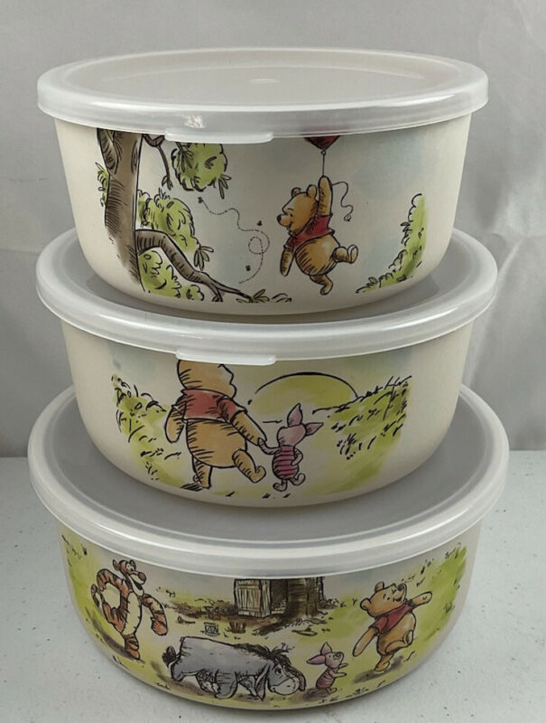 Disney Classic Winnie The Pooh Bamboo Food Storage Containers Sayings On Back