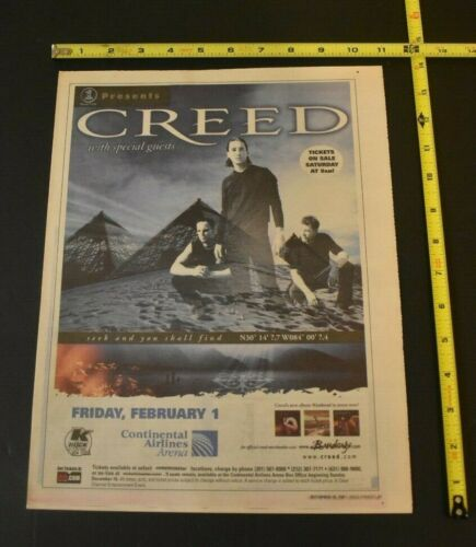 Creed 2001 Color Concert Ad Seek And You Shall Find Continental Airlines  NJ