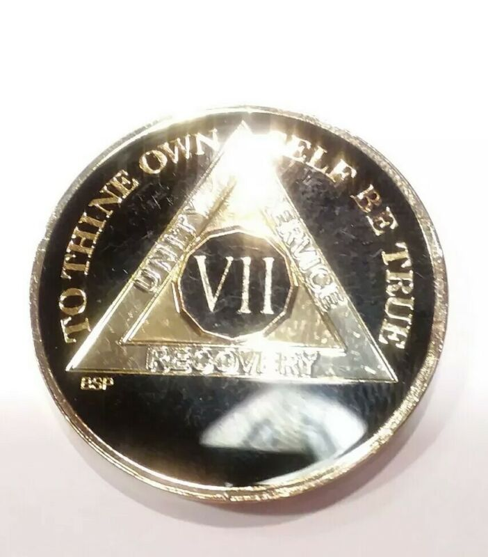 "7 Year AA Coin BLACK Enamel, Gold, Silver 1⅜"" Traditional Size Recovery VII"