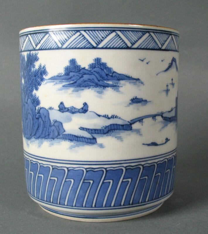FINE 19th C. JAPANESE BLUE & WHITE COVERED JAR or VASE +
