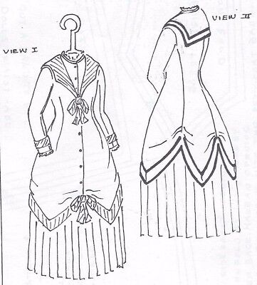 """15""""ANTIQUE FRENCH FASHION DOLL@1875 SAILOR/MIDDY DRESS&COLLAR VARIATIONS PATTERN"""