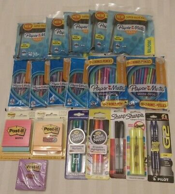 Huge School Office Supplies Lot Pens Mechanical Pencils Post-its Highlighters