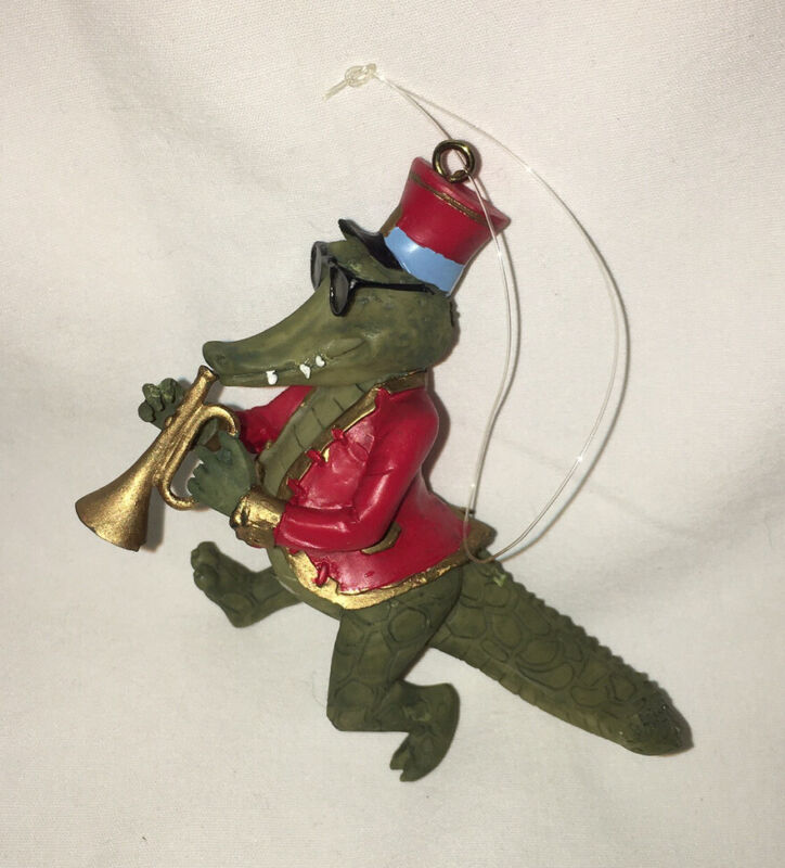 Trumpet Playing ALLIGATOR Christmas Ornament