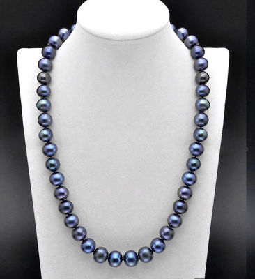 25 inch AAA 8-9 MM SOUTH SEA  Tahitian black blue PEARL NECKLACE  14K GOLD