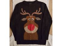 8-9 years Next Christmas Kids Reindeer light up nose jumper, including a checked shirt