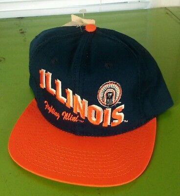 Vintage 90's Collegiate Illinois Script Hat Cap Snapback Fighting Ilini Cheif (Cheif Hat)