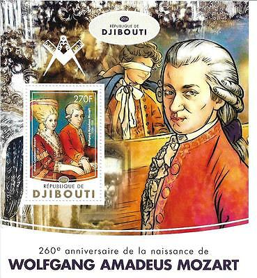 3) Djibouti Mozart Massoneria Franc-Maçonnerie MINT MNH ** MASONIC FREEMASONRY