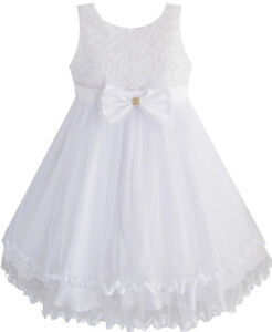Girls-Dress-White-Pearl-Tulle-Layers-Wedding-Pageant-Flower-Girl-Kids-SZ-2-10