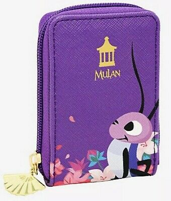 Loungefly Disney Mulan Cri-Kee Purple Cardholder ID Card Fan Wallet Crickee NWT