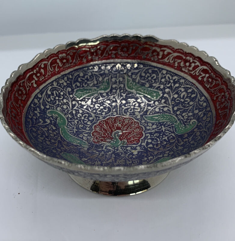 Tibetan Buddhist Silver Peacock Compote Bowl Etched Cloisonné Flowers Peacocks