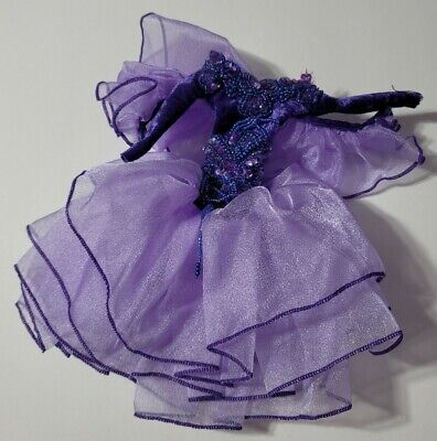 BARBIE DOLL CLOTHES PURPLE BEADED & SEQUINED RUFFLE GOWN DRESS FORMAL FASHION