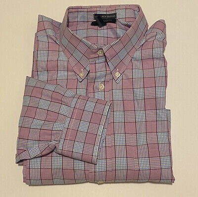 BURBERRY LONDON MENS 17 1/2 33 PLAID PINK LONG SLEEVE DRESS SHIRT BLUE COTTON