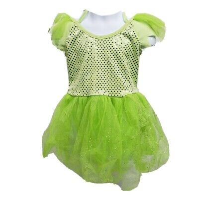 Green Dance Recital Tinkerbell Sequin Dress Halloween Costume Dress Girls 4-6x