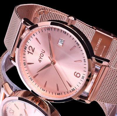 4YOU Uhr Damenuhr Armbanduhr Rosegold Farben Mesh Armband Edelstahl Datum 5 ATM