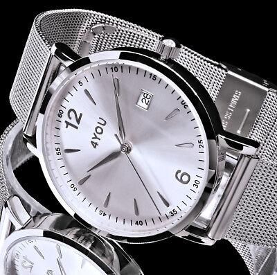 4YOU Uhr Damenuhr Armbanduhr Silber Farben Mesh Armband Edelstahl Datum 5 ATM