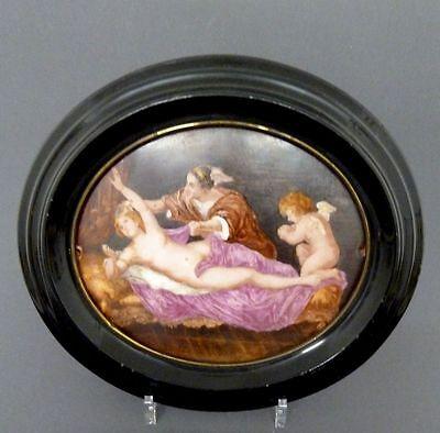 Porzellanbild im ovalen Rahmen, 'Mythologische Szene', 19. Jahrhundert