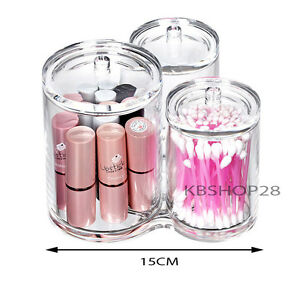 clear acrylic 3 compartment brush holder makeup cosmetic organizer with lid ebay. Black Bedroom Furniture Sets. Home Design Ideas