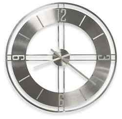 Silver Metal Wall Clock Modern Office Home Contemporary Art Decor Large 30 New