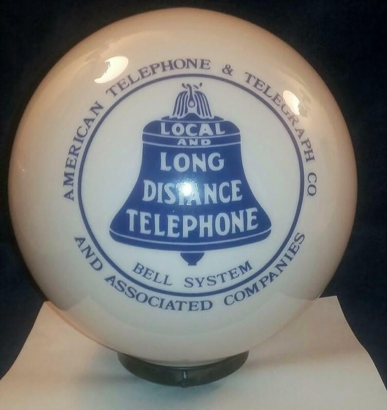 American Telephone & Telegraph Co Bell System Glass Globe 10 Inches Tall