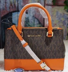 f156eaf0304249 MICHAEL KORS KELLEN SZ XS MK BROWN/TANGERINE PVC Satchel Crossbody Bag $298  NWT