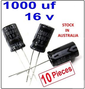 1000uf 16v Electrolytic Capacitor Radial Lead 105°C- 10 Pieces - (Part # RC004)