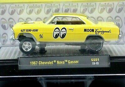 M2 MACHINES 1967 67 CHEVY NOVA MOONEYES GASSER COLLECTIBLE CAR -Yellow, MIP