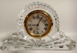 Crystal Legends Mantle Clock Godinger Hand Crafted 24% Lead Crystal 4 x 2.5