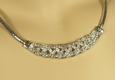 White Gold Wheat Weave Necklace Stud Crystals 16