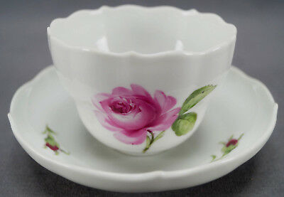 Early 20th Century Meissen Hand Painted Pink Rose Tea Cup & Saucer