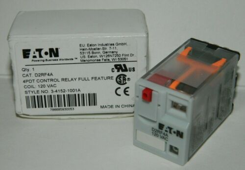 NEW Eaton D2RF4A General Purpose Relay, 14 Blade, 4PDT, 120V AC