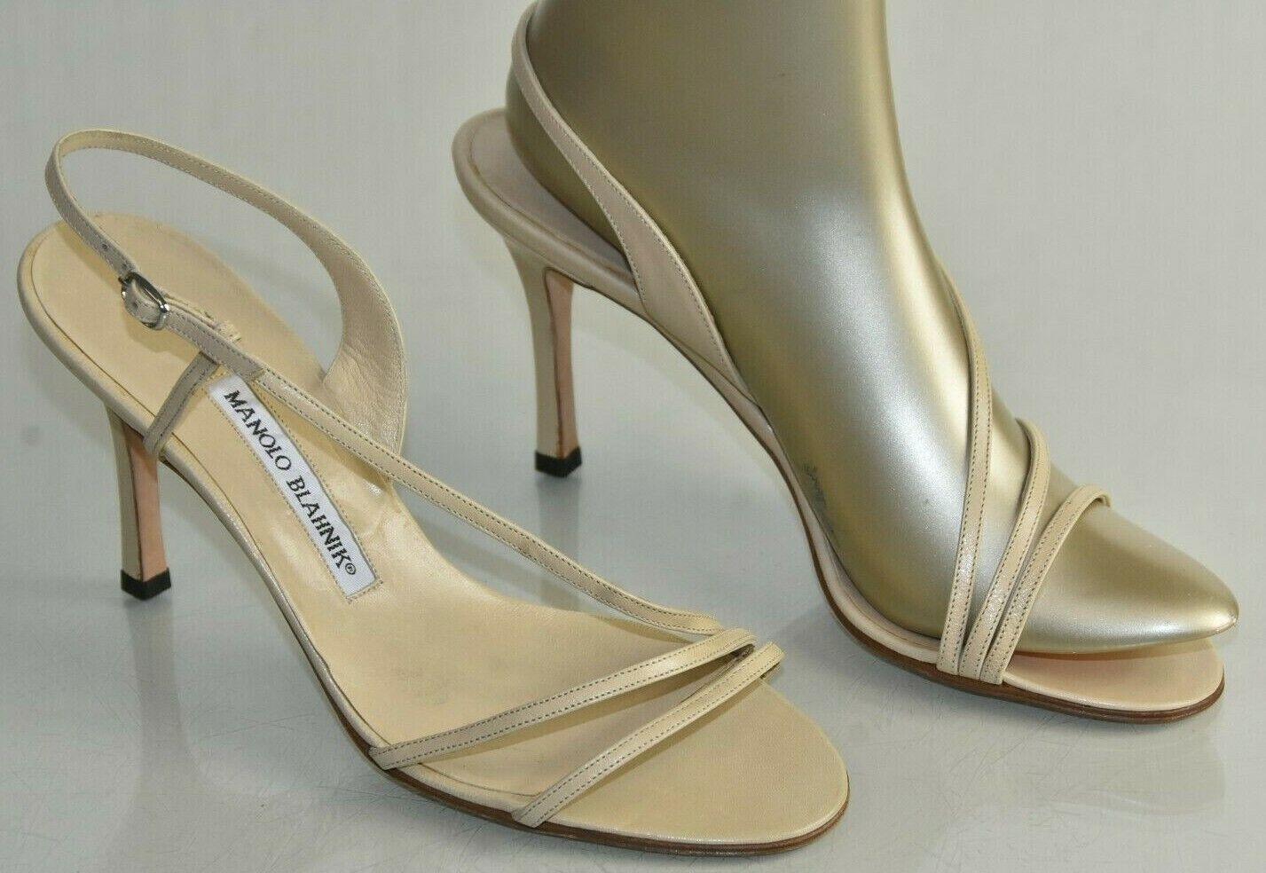 865 NEW Manolo Blahnik TUNICA Strappy NUDE Leather Sandal Beige Heel Shoes 385
