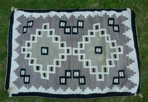 "Vintage Mid Century Navajo Hand Woven Geometric Designed Rug - 54"" x 35"""