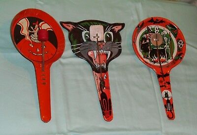 vintage Halloween NOISEMAKER LOT x3 T. Cohn  & U.S. Metal witch cat face pumpkin