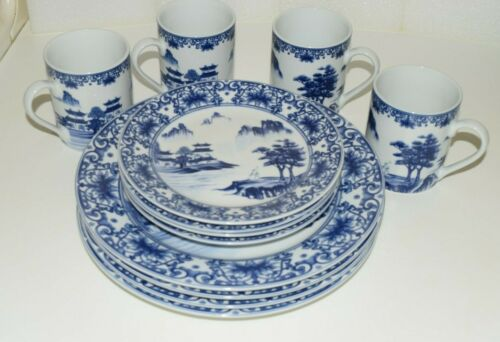 Canton Blue Made In China 12 Pieces-4 Dinner Plates 4 Salad Plates 4 Coffee Mugs