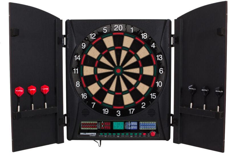Arachnid Bullshooter 5.0 Electronic Soft Tip Dartboard Cabinet Set Wooden Door