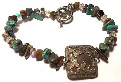 Turquoise Nugget beads Embossed Rodeo silver tone Square toggle bracelet 7.5