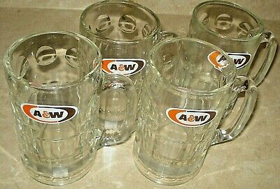 A&W ROOT BEER LOT 4 LARGE HEAVY GLASS MUGS